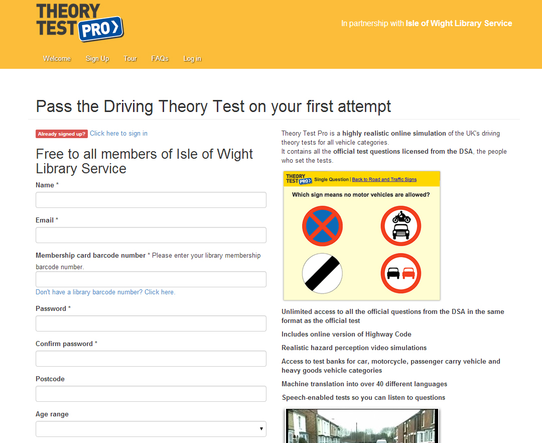 LIBRARY SERVICE LAUNCH DRIVING THEORY TEST TOOL - Island Echo - 24hr