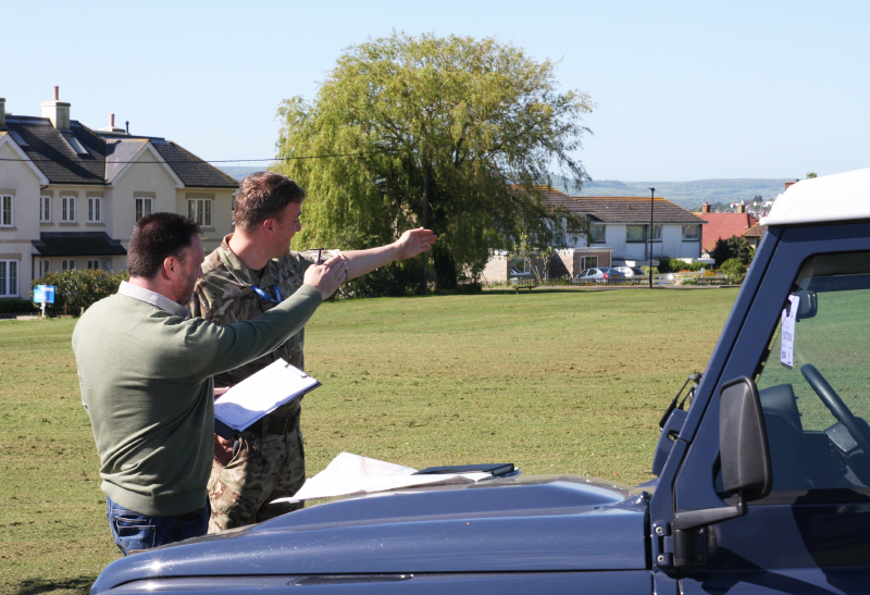 Darren Steed, the Isle of Wight Council's resilience manager and Flight Lieutenant Darrel Griffiths at St Helens Green in 2015