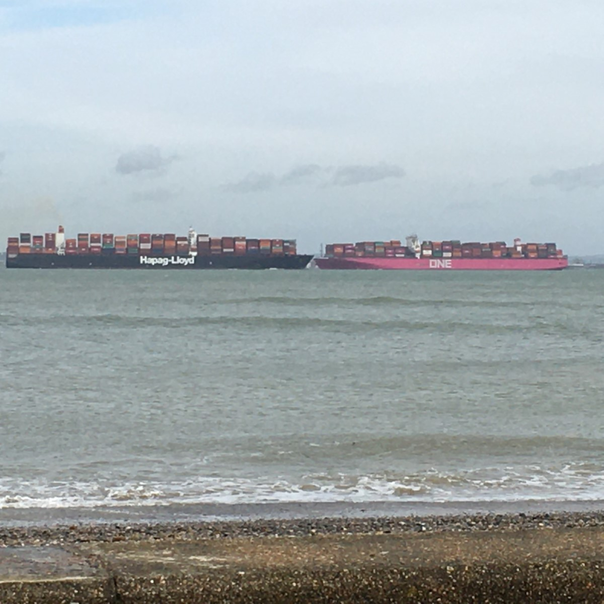 Two Container Ship Off Ryde, One Coming In, One Going Out. Ryde Canoe Lake (elmer Keith)